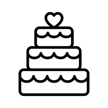 Stacked wedding cake dessert with heart topper line art vector icon for food apps and websites