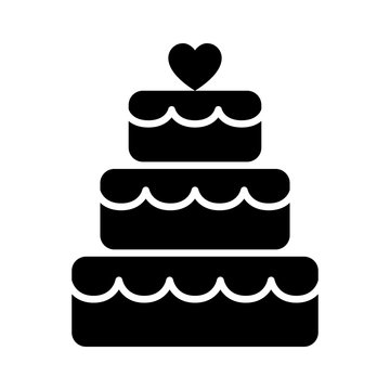 Stacked wedding cake dessert with heart topper flat vector icon for food apps and websites
