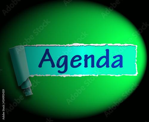 Agenda Word Means Online Schedule 3d Rendering Stock