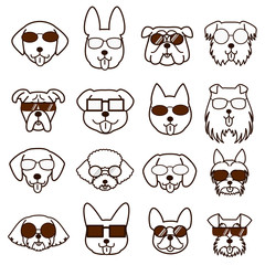 dogs faces with glasses set