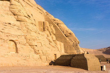 Egyptian ancient temple giant pharaohs sculptures