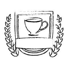 Contour picture coffee cup with wheat image, vector illustration