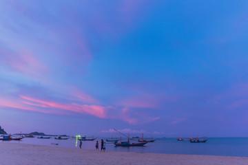 Beautiful tropical beach landscape in sunset
