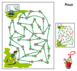 Football match. Educational maze game for children. Cartoon vector illustration