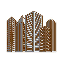 monochrome city building icon image vector illustration design