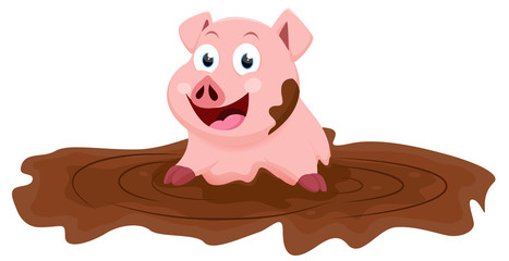 Cute pig cartoon play with mud