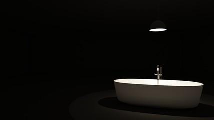 Jacuzzi focus light in the darkroom - 3D render