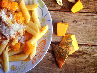 Italian food - Penne pasta with pumpkin.