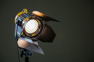 Прожектор направленного света с линзой Френеля, галогенной лампой и защитными шторками.