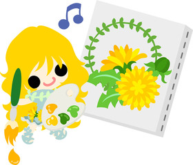 Illustration of a cute girl and a picture of dandelion