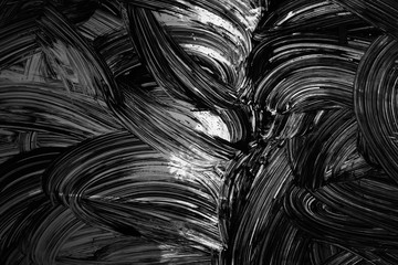Ccurved brush strokes paint pattern on wall