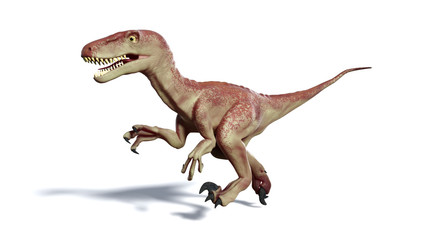running Dromaeosaur dinosaur (3d illustration isolated with shadow on white background)