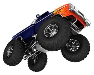 Monster truck jamp. 3d image isolated on white