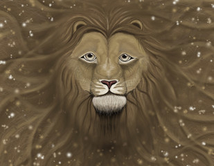 Lion head with a wavy mane of filling a background, and highlights on top of it