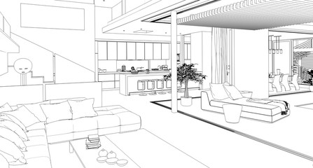 Modern House Interior (sketch)