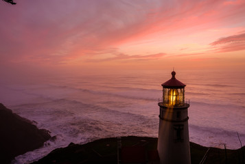 Canvas Prints Lighthouse Heceta Head Lighthouse at sunset, built in 1892