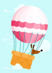 Dog in balloon - vector