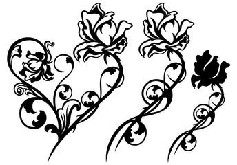 rose flower black and white vector decor design
