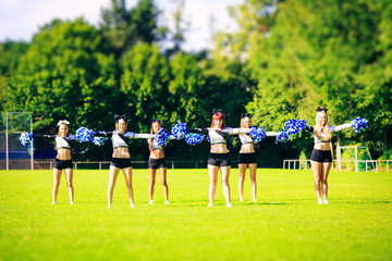 Cheerleaders Team Practicing