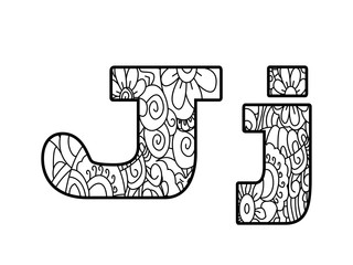 Anti coloring book alphabet, the letter J raster illustration
