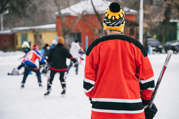 Hockey fans gathered at the stadium to play