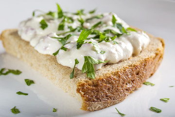 Appetizer made from horseradish, sour cream and mayonnaise on br