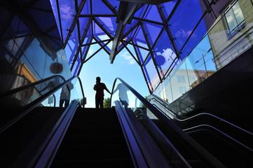 Man entrancing urban subway architecture
