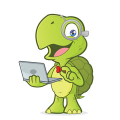 Turtle holding a laptop