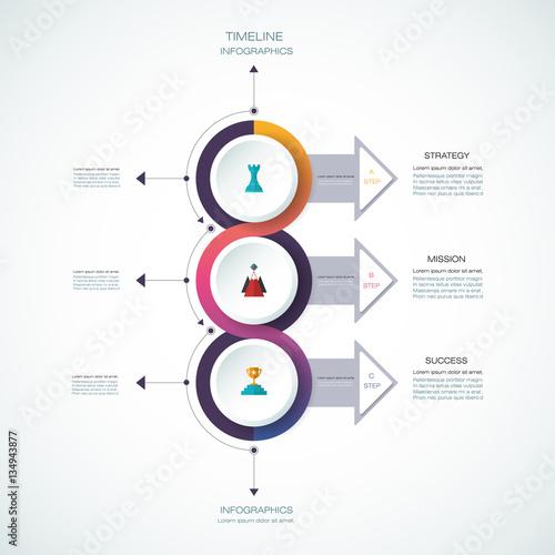 Vector Infographics Timeline Design Template With D Paper Label - Timeline design template