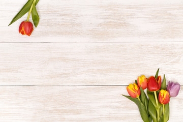 Lilac and red tulips in the white wooden table. Banner template layout mockup for Woman Day, Valentines Day and Teacher's Day.