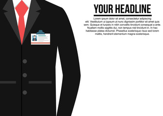 Black suit with red tie corporate background