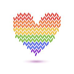 Knitted rainbow heart symbol