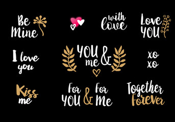 Valentine lettering quotes collection