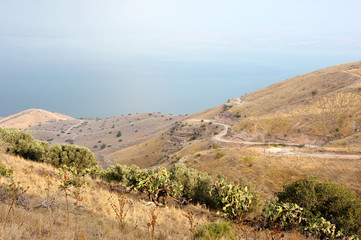 Shore of Lake Kinneret, the slopes of the Golan Heights in Israel