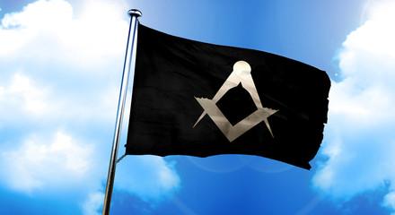 freemason symbol flag, 3D rendering