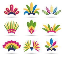 Carnival Festive Headdress Hat Icons Isolated on White