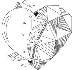half-triangle heart