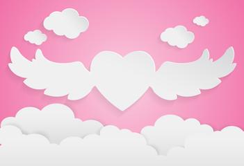 happy valentine day,heart shape on sky, Paper art style.