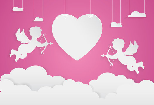 happy valentine day,heart shape and cupid on sky, Paper art styl