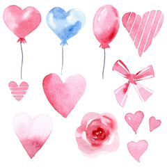 set of watercolor balloon, ribbon, bow, heart, flower