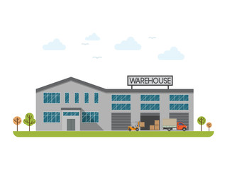 Warehouse building flat icon