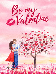 Valentine day postcard, banner, poster Wedding invitation