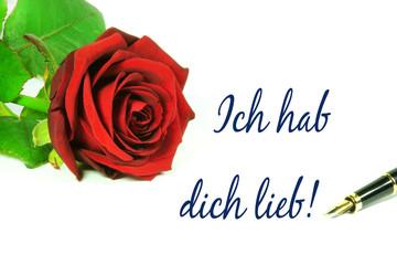 """Valentinstag, Liebesbrief, Rose, Schrift """"Ich hab dich lieb!"""", freigestellt, isoliert, Textraum, copy space"""