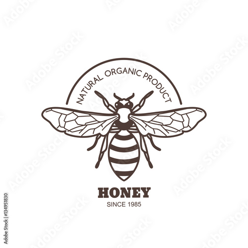 Vintage Honey Label Design Elements Vector Logo Or Emblem With