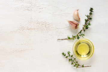 Thyme and garlic infused oil