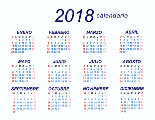 2018 spanish calendar stock image and royalty free vector files on fotoliacom pic 134953622