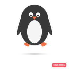Cartoon penguin color flat icon