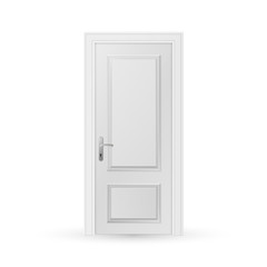 Closed white entrance door isolated on white background. Realistic vector illustration.