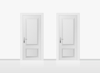 Two white closed doors isolated on white background. Realistic vector illustration.