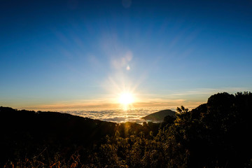 Sunrise in the morning at National park Chiangmai, Thailand